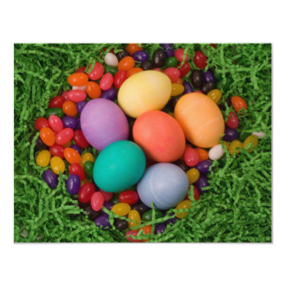 Easter Basket - Spring Colored Eggs Jelly Beans 4.25x5.5 Paper Invitation Card