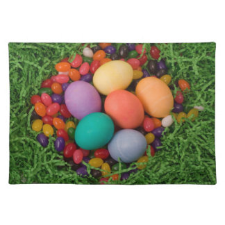 Easter Basket - Spring Colored Eggs Jelly Beans Cloth Place Mat