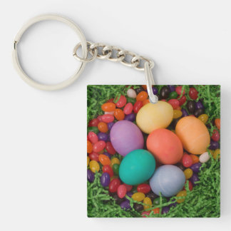 Easter Basket - Spring Colored Eggs Jelly Beans Double-Sided Square Acrylic Keychain