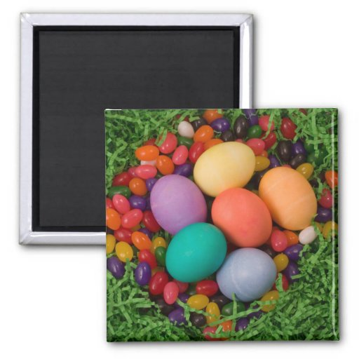 Easter Basket - Spring Colored Eggs Jelly Beans 2 Inch Square Magnet