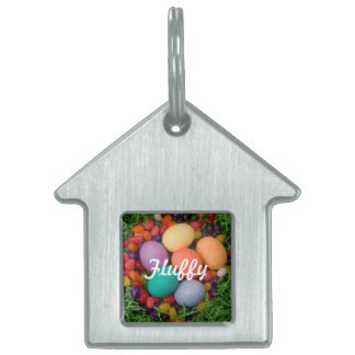Easter Basket - Spring Colored Eggs Jelly Beans Pet Name Tag