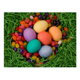 Easter Basket - Spring Colored Eggs Jelly Beans Postcard