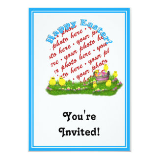 Easter Basket with Baby Chicks Photo Frame Invitations
