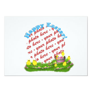 Easter Basket with Baby Chicks Photo Frame Custom Announcement