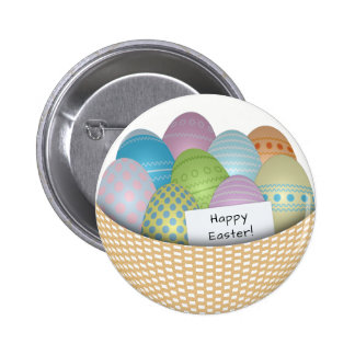 Easter Basket with Colored Eggs Button