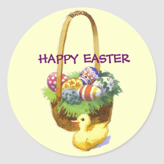Easter Basket with Duck Sticker
