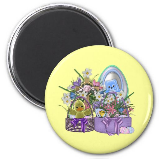 Easter Baskets 2 Inch Round Magnet