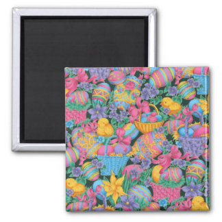 Easter Baskets and Eggs 2 Inch Square Magnet