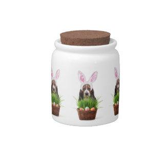 Easter Basset Hound dog Candy Jars