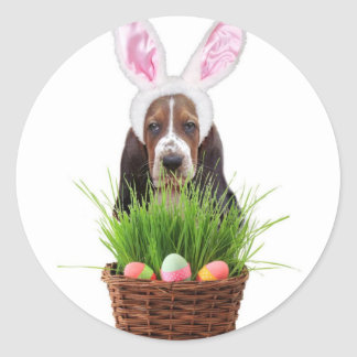 Easter Basset Hound dog Classic Round Sticker