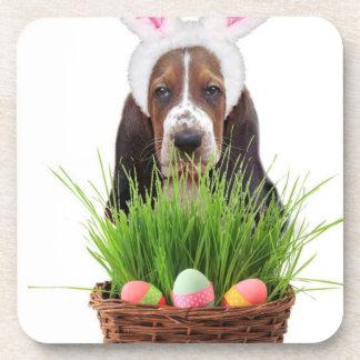 Easter Basset Hound dog Drink Coaster
