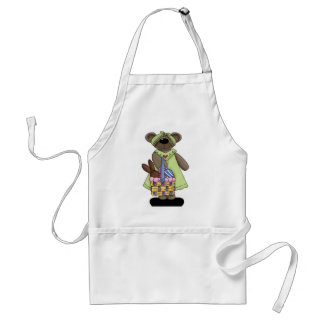 Easter Bear with Green Dress Adult Apron