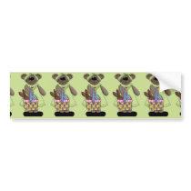 Easter Bear with Green Dress Bumper Sticker