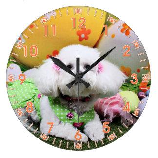 Easter - Bichon Frise - Mia Wall Clock