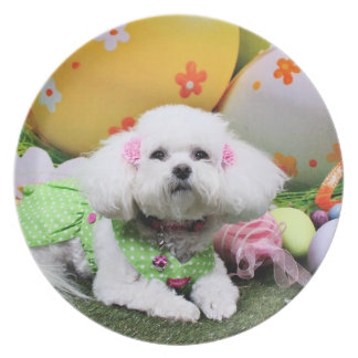 Easter - Bichon Frise - Mia Dinner Plate