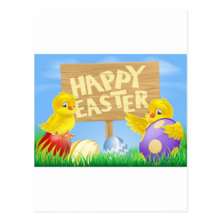 Easter birds and eggs with sign post cards