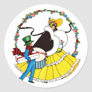 Easter birds classic round sticker