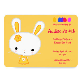 Easter Birthday Invitations Cute Yellow Bunny