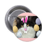 Easter Black and White Cat 2 Inch Round Button