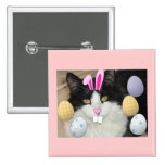 Easter Black and White Cat Button