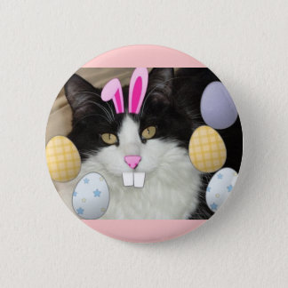 Easter Black and White Cat Pinback Button