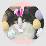 Easter Black and White Cat Round Sticker