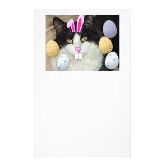 Easter Black and White Cat Stationery