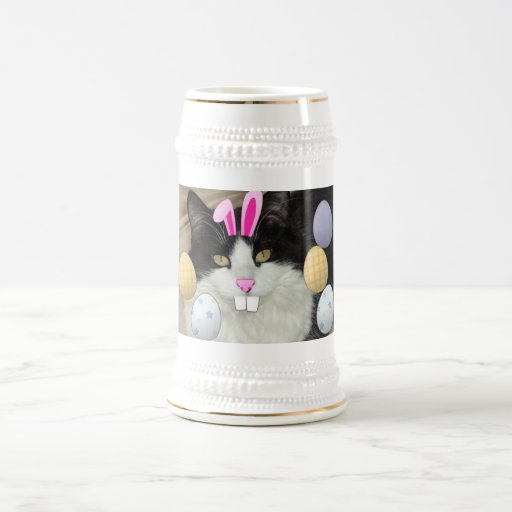 Easter Black and White Kitty Cat Beer Stein