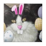 Easter Black and White Kitty Cat Ceramic Tile