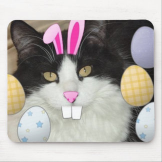 Easter Black and White Kitty Cat Mouse Pad