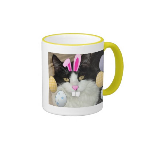Easter Black and White Kitty Cat Mugs