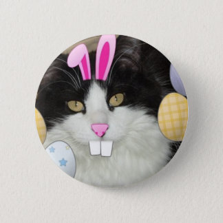 Easter Black and White Kitty Cat Pinback Button