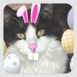 Easter Black and White Kitty Cat Square Sticker