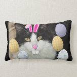 Easter Black and White Kitty Cat Throw Pillows