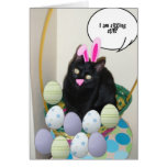 Easter Black Cat Greeting Card