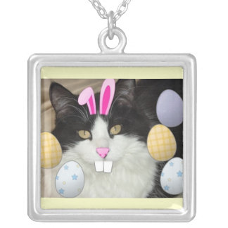 Easter Black Cat Silver Plated Necklace