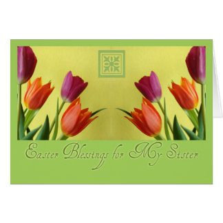 Easter Blessing For Sister Tulips Card