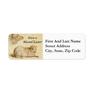 Easter Blessing Holbein Resting Lamb Art Label