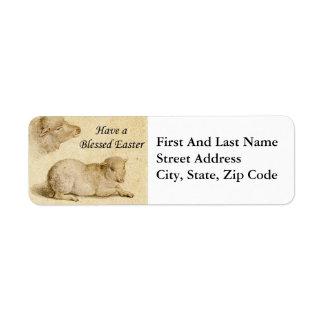 Easter Blessing Holbein Resting Lamb Art Custom Return Address Labels