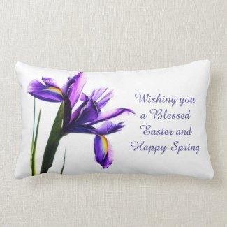 Easter Blessing  Purple Iris Lumbar Pillow