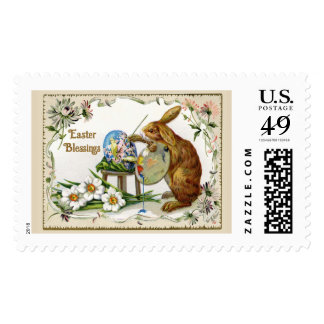 Easter Blessings Artist Bunny Vintage Reproduction Postage