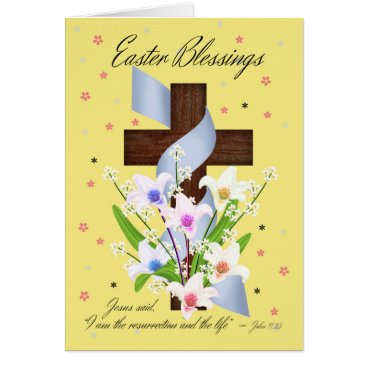 moonlake Easter Blessings - Cross And Flowers - Easter Card
