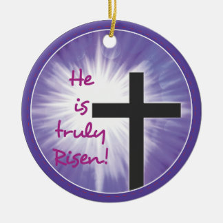 Easter Blessings Cross Starburst on Purple, Risen Ceramic Ornament