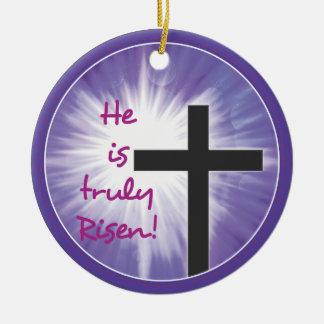 Easter Blessings Cross Starburst on Purple, Risen Ceramic Ornament