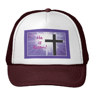 Easter Blessings Cross Starburst on Purple, Risen Trucker Hat