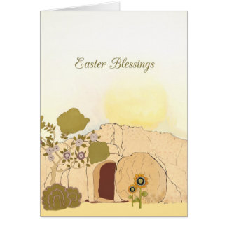 Easter Blessings empty tomb Luke 24 6 Greeting Card