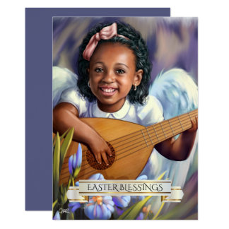 Easter Blessings. Little Angel with Lute Flat Card
