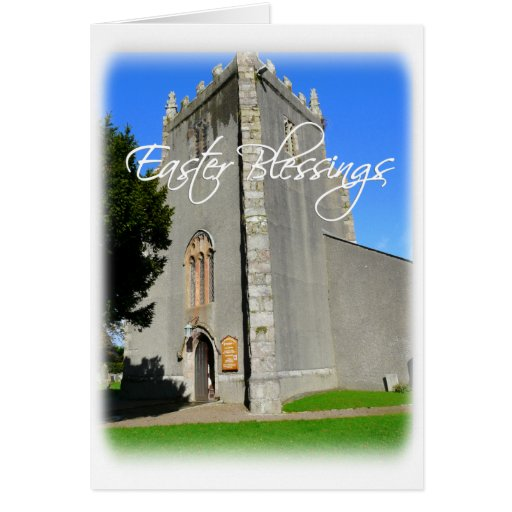 Easter Blessings-Old Church with Scripture Quote Greeting Cards