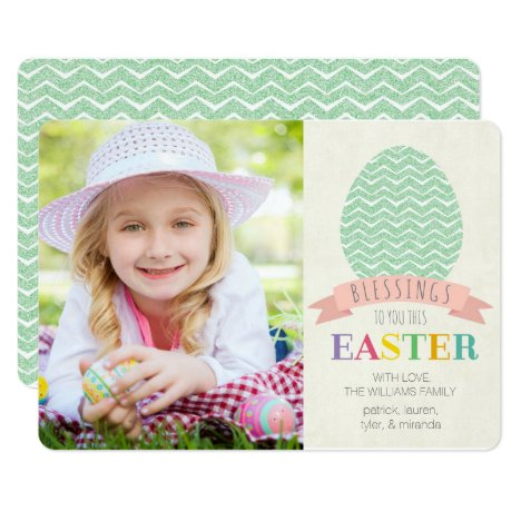 Easter Blessings Photo Flat Card