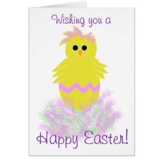 Easter Blessings Pink Baby Chick Greeting Card